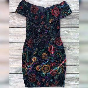 Vintage Roberta Dress Velvet Floral Off Shoulder